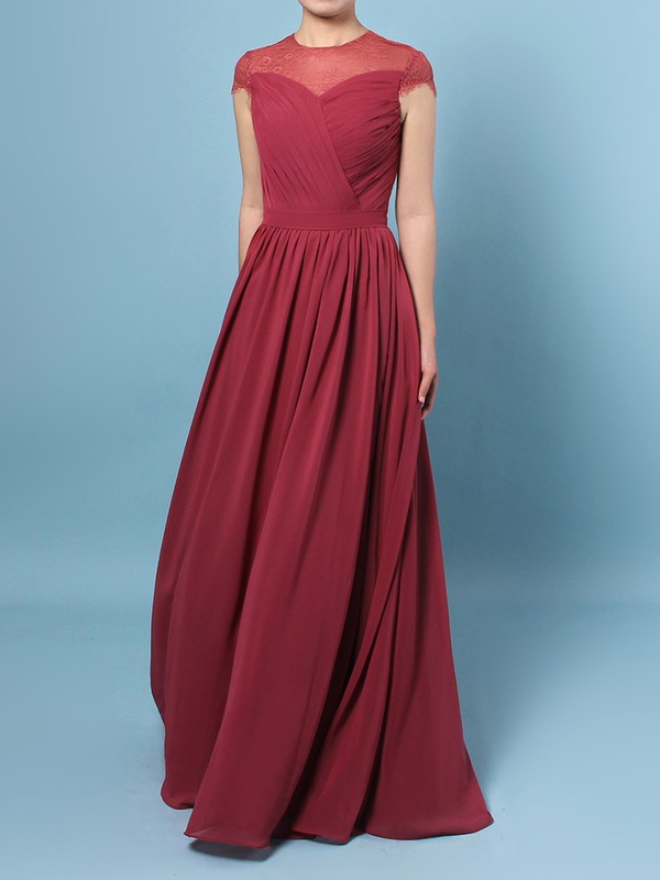 Lace Chiffon Scoop Neck A-line Floor-length Ruffles Bridesmaid Dresses #LDB01013491