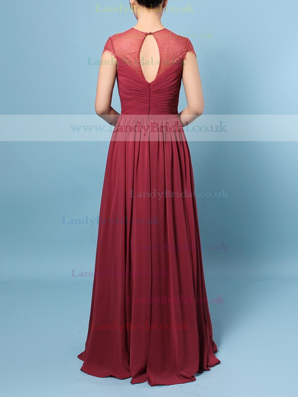 Lace Chiffon Scoop Neck A-line Floor-length Ruffles Bridesmaid Dresses #LDB01013491