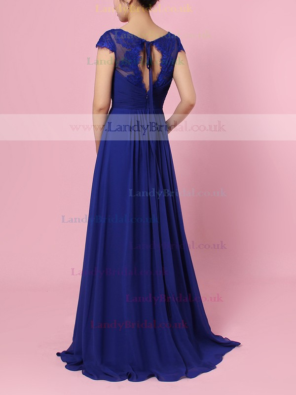 Lace Chiffon V-neck A-line Floor-length Ruffles Bridesmaid Dresses #LDB01013492
