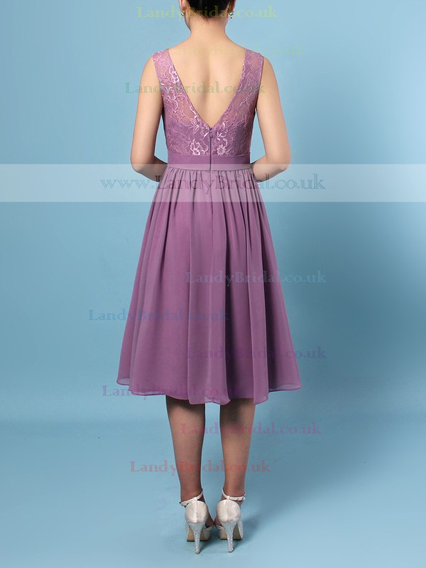 Lace Chiffon Scoop Neck A-line Knee-length Sashes / Ribbons Bridesmaid Dresses #LDB01013556