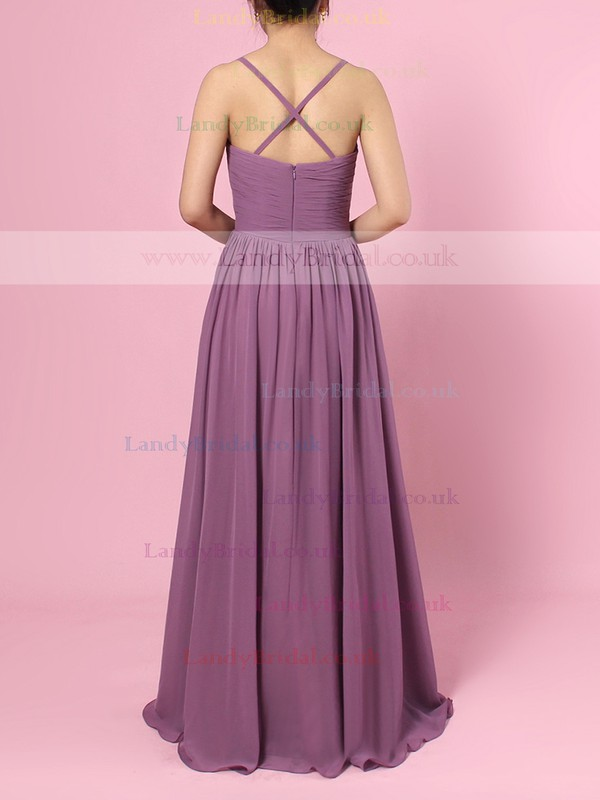 Chiffon V-neck Empire Floor-length Ruffles Bridesmaid Dresses #LDB01013573