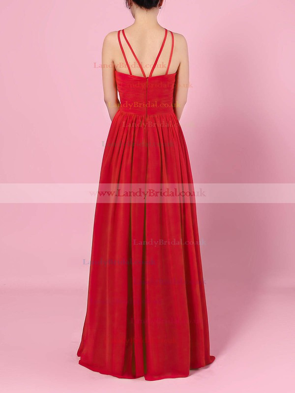 A-line Scoop Neck Chiffon Floor-length Ruffles Bridesmaid Dresses #LDB01013460
