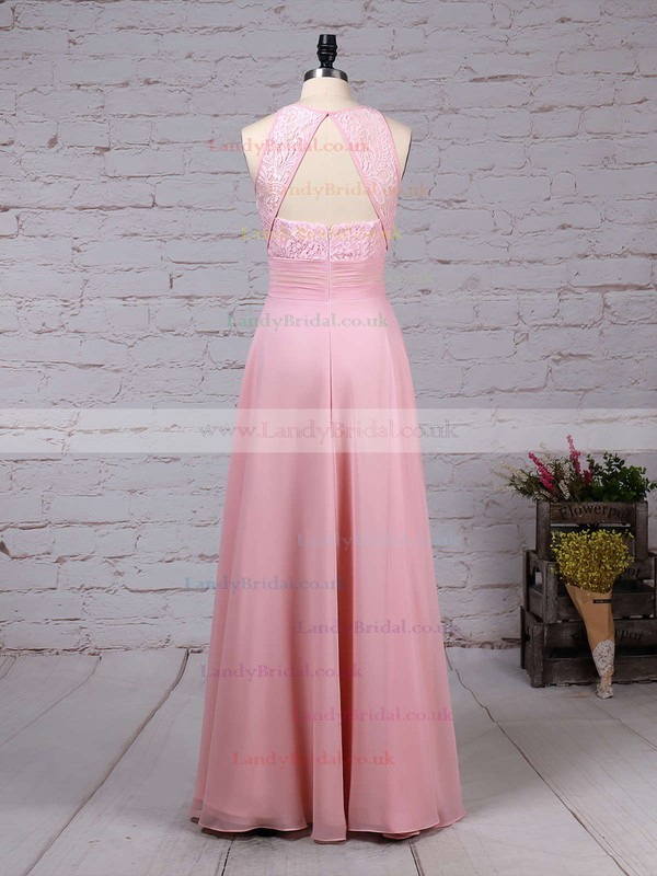 A-line Scoop Neck Lace Chiffon Floor-length Ruffles Bridesmaid Dresses #LDB01013465