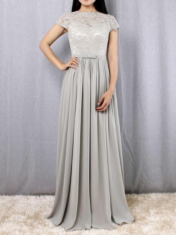 A-line Scoop Neck Lace Chiffon Floor-length Sashes / Ribbons Bridesmaid Dresses #LDB01013469