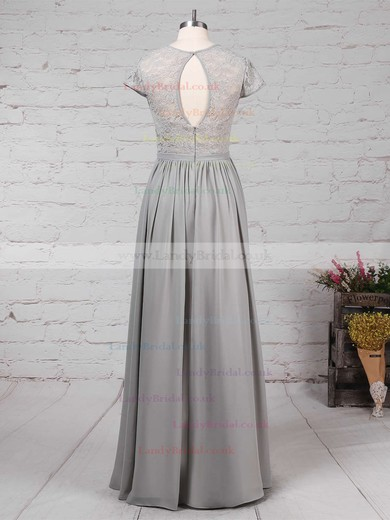 A-line Scoop Neck Lace Chiffon Floor-length Sashes / Ribbons Bridesmaid Dresses #LDB01013469