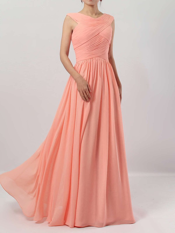 A-line V-neck Chiffon Floor-length Ruffles Bridesmaid Dresses #LDB01013494