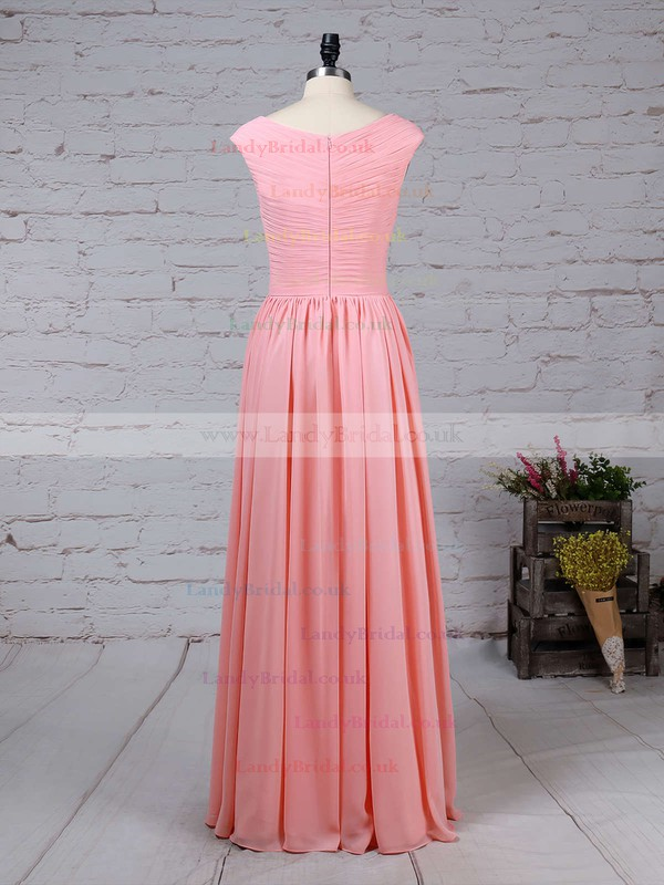 A-line V-neck Chiffon Floor-length Ruffles Bridesmaid Dresses #LDB01013494