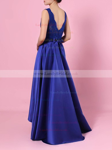 A-line V-neck Lace Silk-like Satin Asymmetrical Sashes / Ribbons Bridesmaid Dresses #LDB01013508