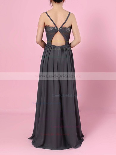 A-line V-neck Chiffon Floor-length Lace Bridesmaid Dresses #LDB01013509