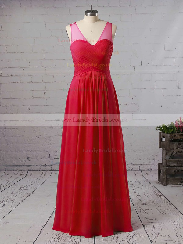 A-line V-neck Chiffon Floor-length Ruffles Bridesmaid Dresses #LDB01013533
