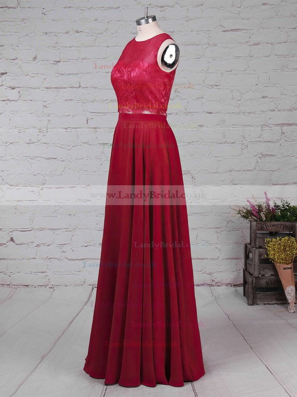 Lace Chiffon Scoop Neck A-line Floor-length Bridesmaid Dresses #LDB01013541