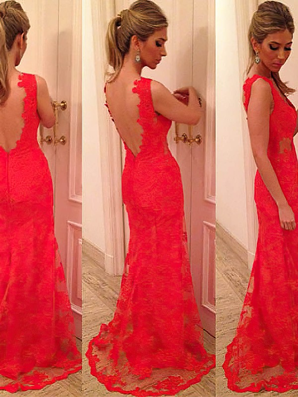 New Arrival Trumpet/Mermaid Black Lace V-neck Open Back Prom Dresses #LDB02014905