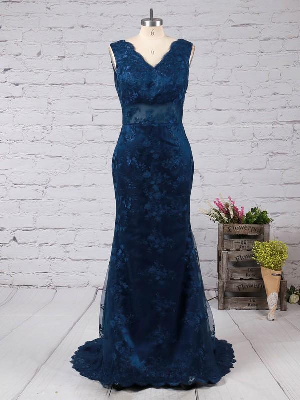 Trumpet/Mermaid V-neck Lace Sweep Train Appliques Lace Prom Dresses #LDB02014905