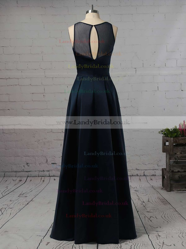 A-line Scoop Neck Satin Floor-length Pockets Bridesmaid Dresses #LDB01013558