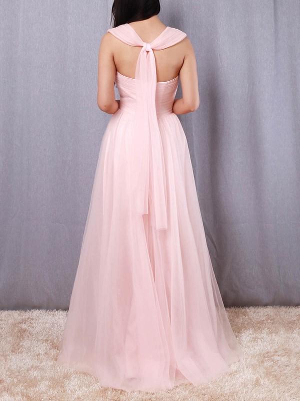 A-line V-neck Tulle Floor-length Ruffles Bridesmaid Dresses #LDB01013562