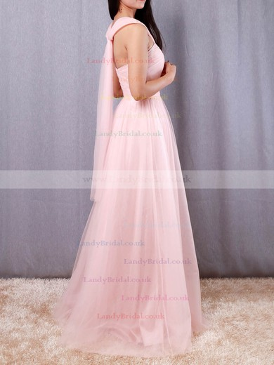 A-line V-neck Tulle Floor-length Ruffles Bridesmaid Dresses #LDB01013562