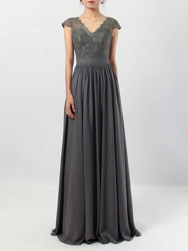 Lace Chiffon V-neck A-line Floor-length Sashes / Ribbons Bridesmaid Dresses #LDB01013569