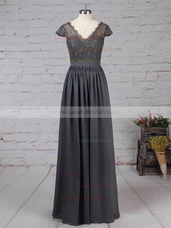 Lace Chiffon V-neck A-line Floor-length Sashes / Ribbons Bridesmaid Dresses #LDB01013569