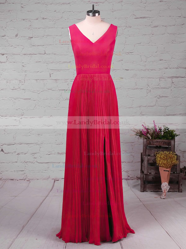 A-line V-neck Chiffon Floor-length Split Front Bridesmaid Dresses #LDB01013579