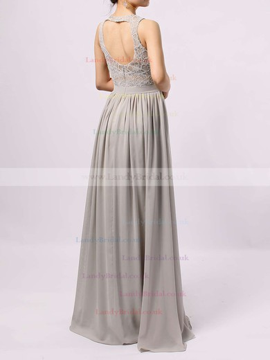 Lace Chiffon Scoop Neck A-line Floor-length Sashes / Ribbons Bridesmaid Dresses #LDB01013584
