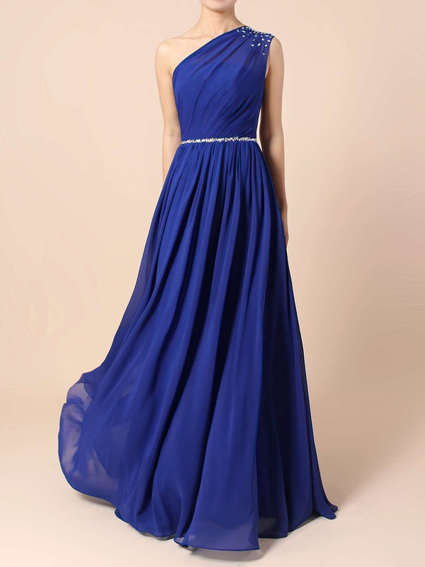 A-line One Shoulder Chiffon Floor-length Beading Bridesmaid Dresses #LDB01013586