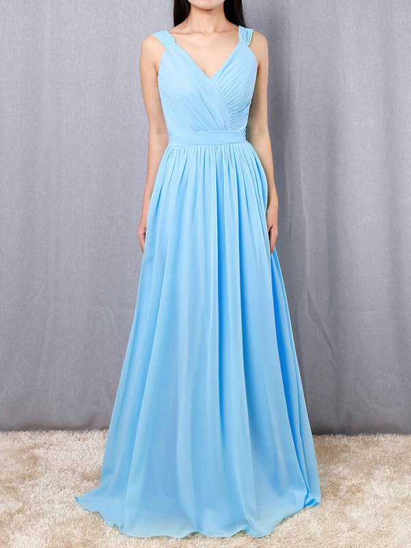 A-line V-neck Chiffon Floor-length Sashes / Ribbons Bridesmaid Dresses #LDB01013520