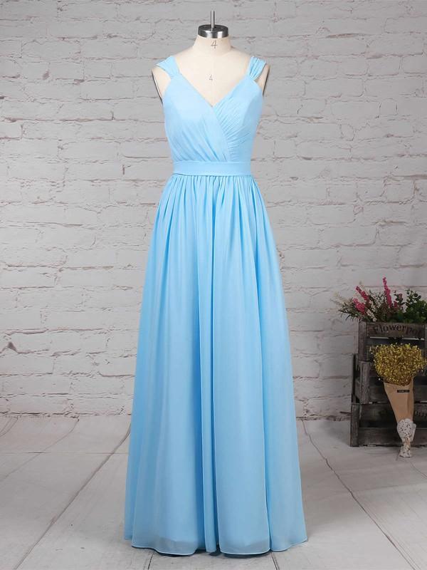 A-line V-neck Chiffon Floor-length Sashes / Ribbons Bridesmaid Dresses #LDB01013520