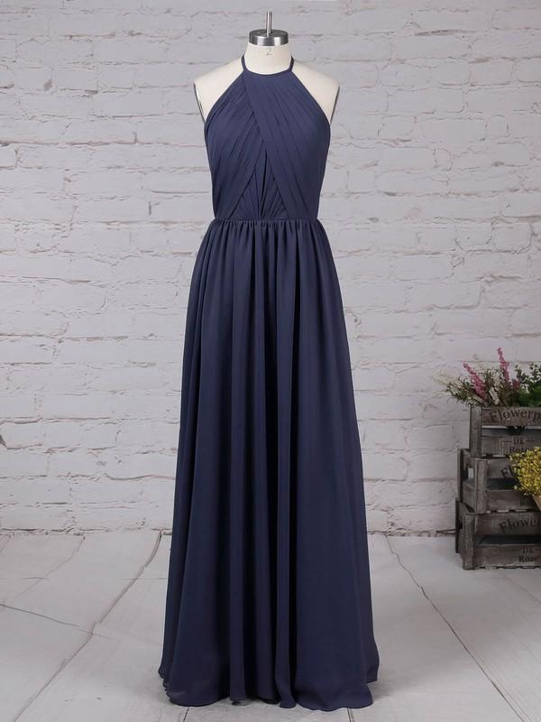 Chiffon Scoop Neck A-line Floor-length Ruffles Bridesmaid Dresses #LDB01013461