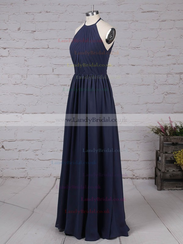 Chiffon Scoop Neck A-line Floor-length Ruffles Bridesmaid Dresses #LDB01013461