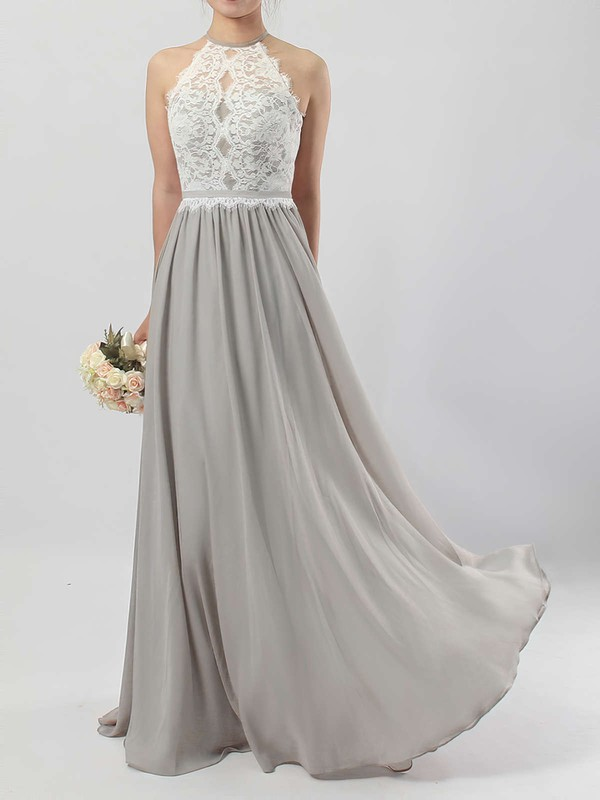 Lace Chiffon Scoop Neck A-line Floor-length Sashes / Ribbons Bridesmaid Dresses #LDB01013466