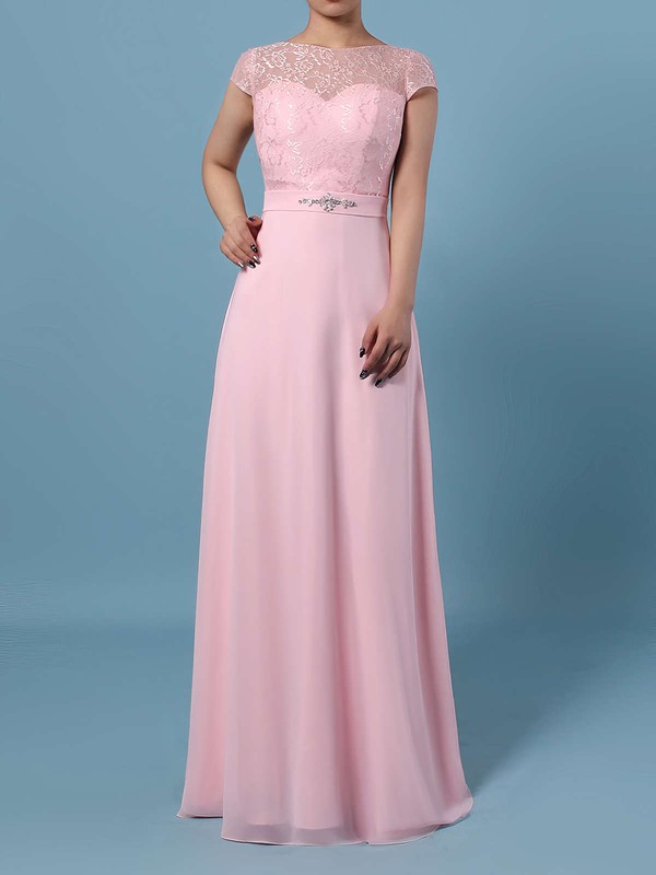 Lace Chiffon Scoop Neck A-line Floor-length Beading Bridesmaid Dresses #LDB01013471