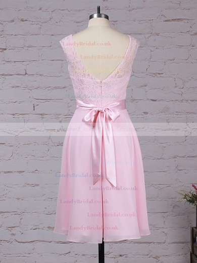 Lace Chiffon Scoop Neck A-line Knee-length Sashes / Ribbons Bridesmaid Dresses #LDB01013482