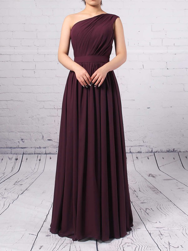 Chiffon One Shoulder A-line Floor-length Ruffles Bridesmaid Dresses #LDB01013502