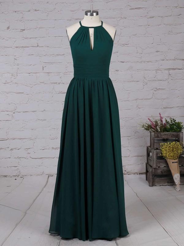 Chiffon Scoop Neck A-line Floor-length Ruffles Bridesmaid Dresses #LDB01013503