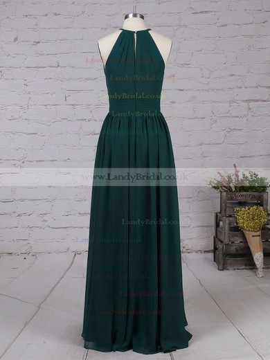 Chiffon Scoop Neck A-line Floor-length Ruffles Bridesmaid Dresses #LDB01013503