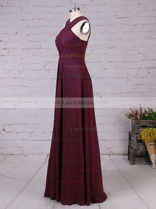 Chiffon V-neck Empire Floor-length Ruffles Bridesmaid Dresses #LDB01013515