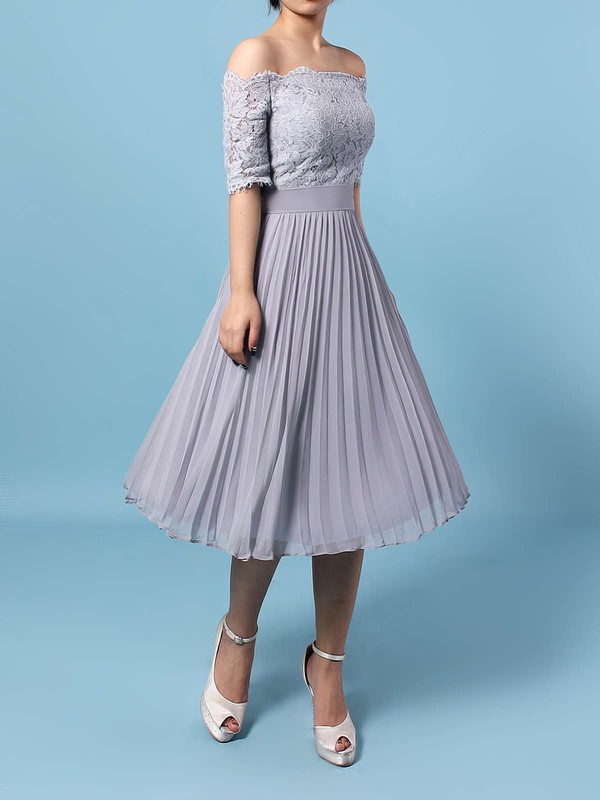 Lace Chiffon Off-the-shoulder A-line Tea-length Sashes / Ribbons Bridesmaid Dresses #LDB01013516