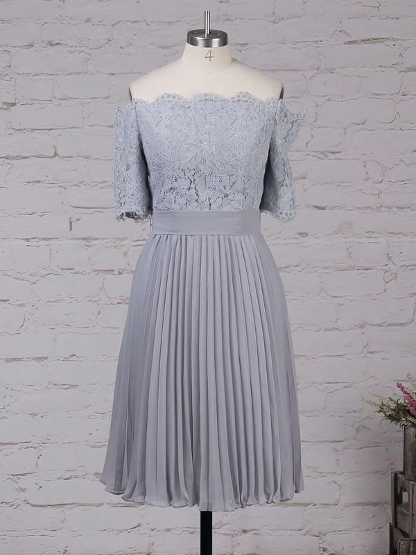 Lace Chiffon Off-the-shoulder A-line Tea-length Sashes / Ribbons Bridesmaid Dresses #LDB01013516