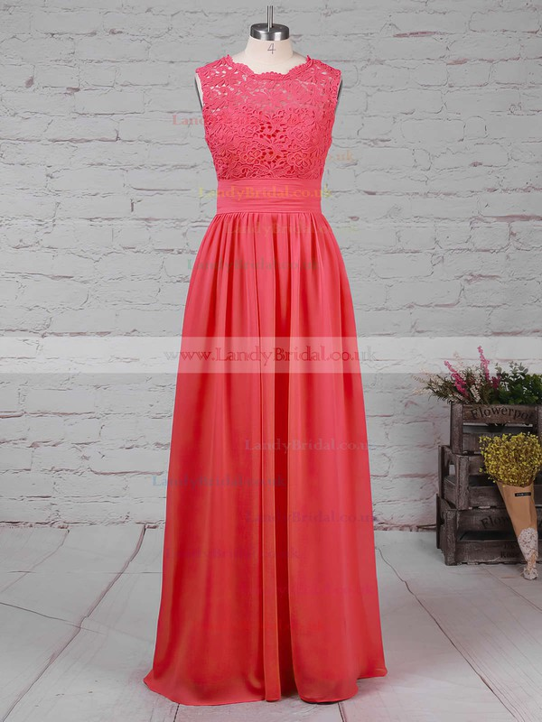 Chiffon Tulle Scalloped Neck A-line Floor-length Lace Bridesmaid Dresses #LDB01013519