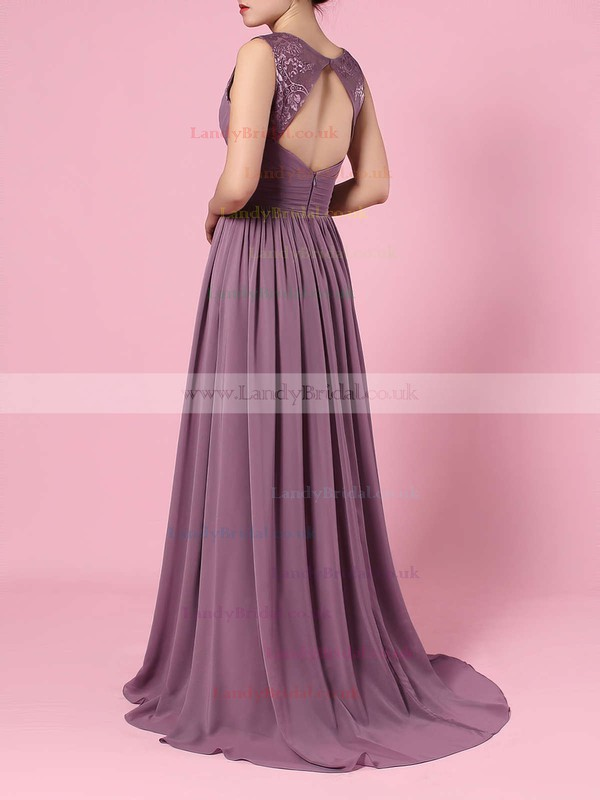 Chiffon V-neck A-line Sweep Train Lace Bridesmaid Dresses #LDB01013557