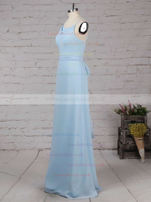 Chiffon Cowl Neck Sheath/Column Floor-length Sashes / Ribbons Bridesmaid Dresses #LDB01013560