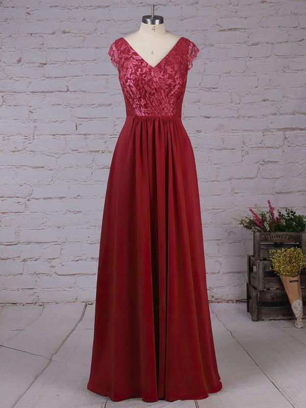 Lace Chiffon V-neck A-line Floor-length Ruffles Bridesmaid Dresses #LDB01013566