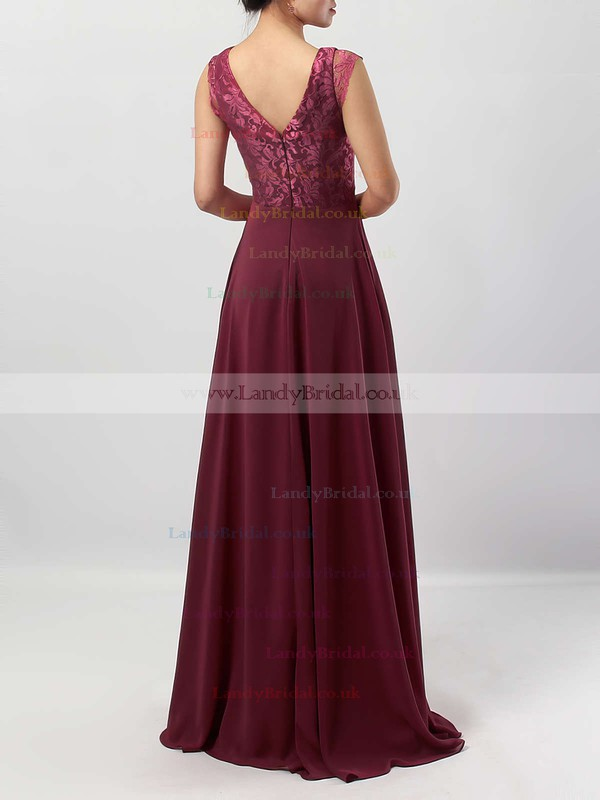 Lace Chiffon V-neck A-line Floor-length Ruffles Bridesmaid Dresses #LDB01013566