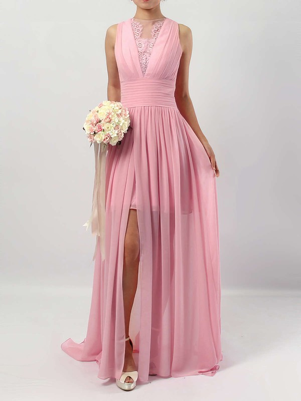 Chiffon Tulle Scoop Neck A-line Floor-length Lace Bridesmaid Dresses #LDB01013588
