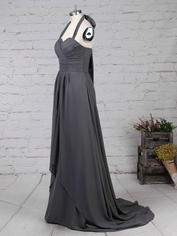 Chiffon Halter A-line Sweep Train Ruffles Bridesmaid Dresses #LDB01013593