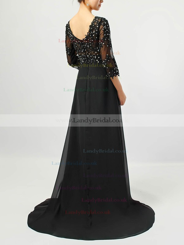 Tulle Chiffon V-neck Empire Sweep Train Beading Bridesmaid Dresses #LDB01021707