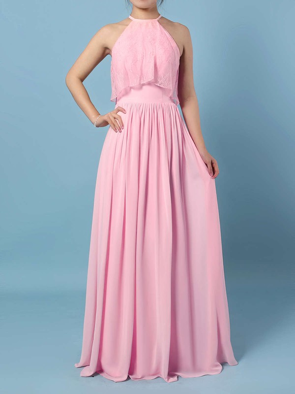 Chiffon Scoop Neck A-line Floor-length Lace Bridesmaid Dresses #LDB01013528