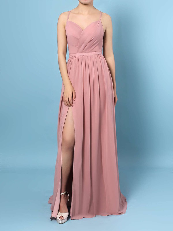 Chiffon V-neck A-line Floor-length Ruffles Bridesmaid Dresses #LDB01013467