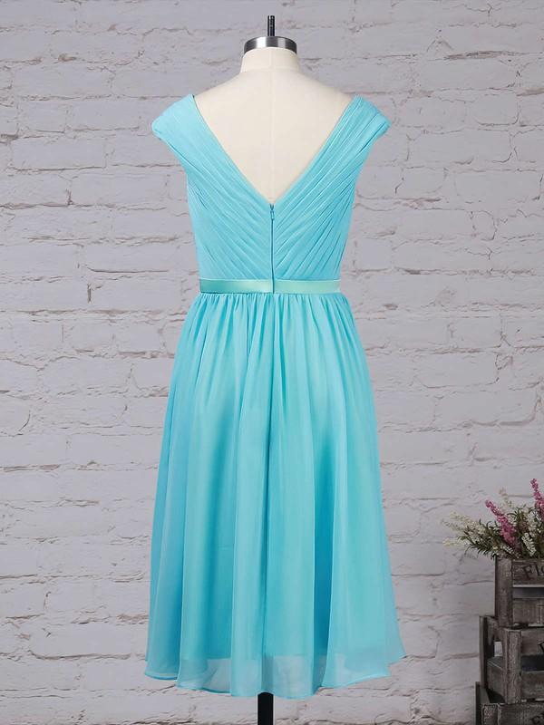 Chiffon V-neck A-line Tea-length Sashes / Ribbons Bridesmaid Dresses #LDB01013475
