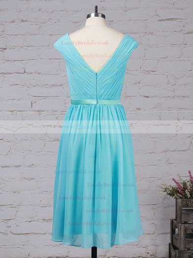 Chiffon V-neck A-line Tea-length Sashes / Ribbons Bridesmaid Dresses #LDB01013475